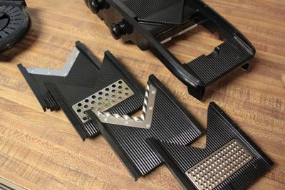 Different blades of a mandoline slicer.